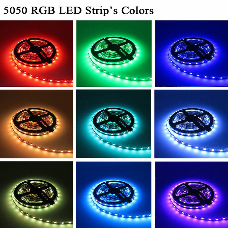 ZAHORIO LED Strip Light RGB LED 5050 SMD 2835 Flexible Ribbon RGB Stripe 5M 10M 15M tape diode DC 12V+Remote Control+ Adapter EU17