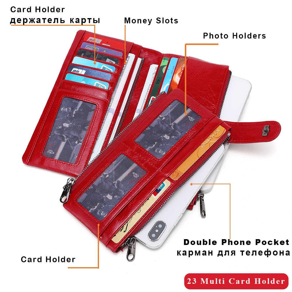 X.D.BOLO Fashion portfele damskie portfel ze skóry naturalnej o dużej pojemności posiadacz karty długi portfel podwójny zamek błyskawiczny kobieta torebka z uchwytem