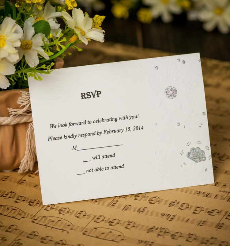 50x Free Personalized Customized Printing Wedding Invitations With RSVP JK31 Envelope And Seals Included Shipping In Event Party From Home Garden