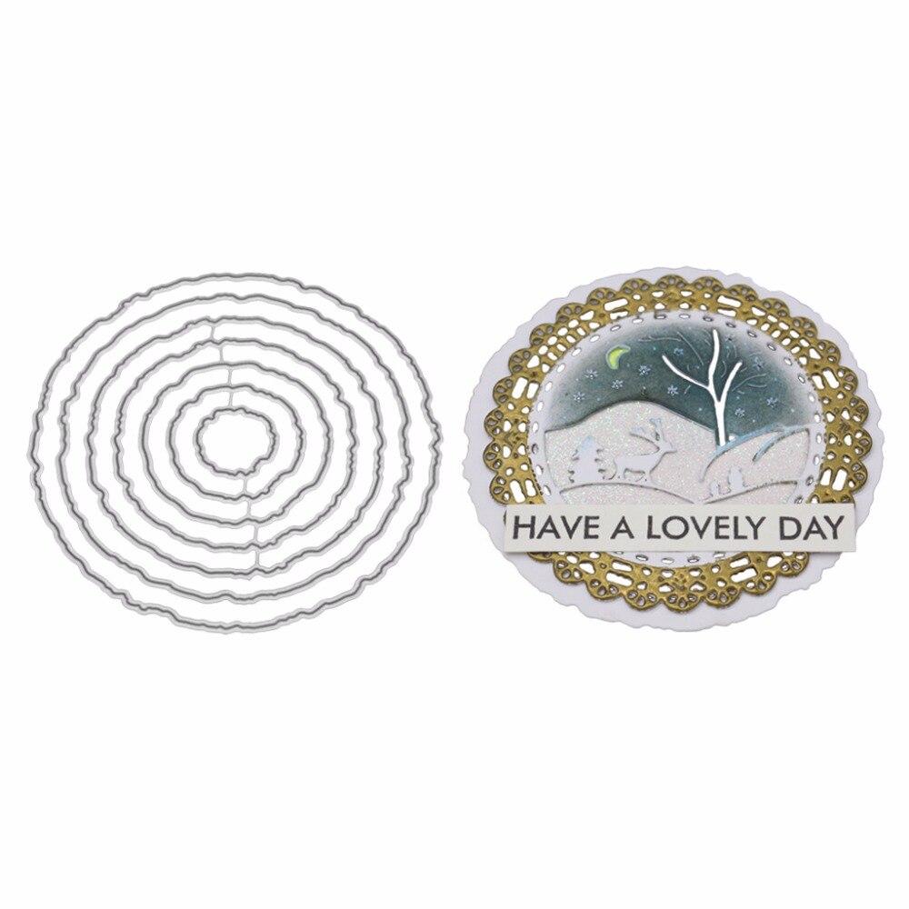 Circle Frame Metal Cutting Dies Stencil DIY Scrapbooking Album Stamp Paper Card