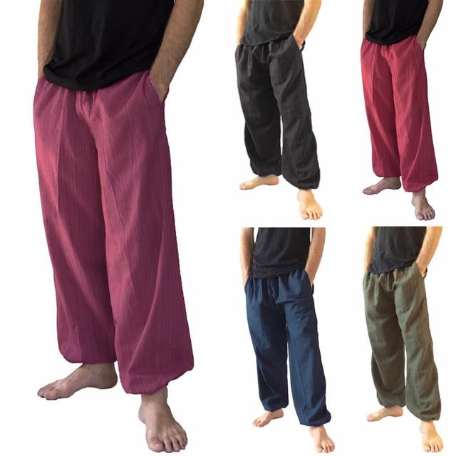 945986638f0 Men s Loose Cotton Baggy Pants Comfortable Casual Wide Leg Linen Trousers  Men Soft Natural Flax Pants Elastic Waist 4 Colors 5XL