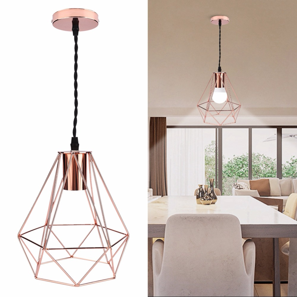LED New Modern Industrial Vintage Cage Pendant Light Iron Art Diamond Pyramid Wrought Home Ceiling Lamp Suitable for E27 BulbsLED New Modern Industrial Vintage Cage Pendant Light Iron Art Diamond Pyramid Wrought Home Ceiling Lamp Suitable for E27 Bulbs