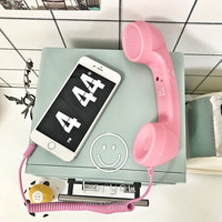 Pink 3.5mm Retro Phone Telephone Radiation-proof Receivers Cellphone Handset For iPhone 4 5 6 7 Classic Headphone MIC Microphone