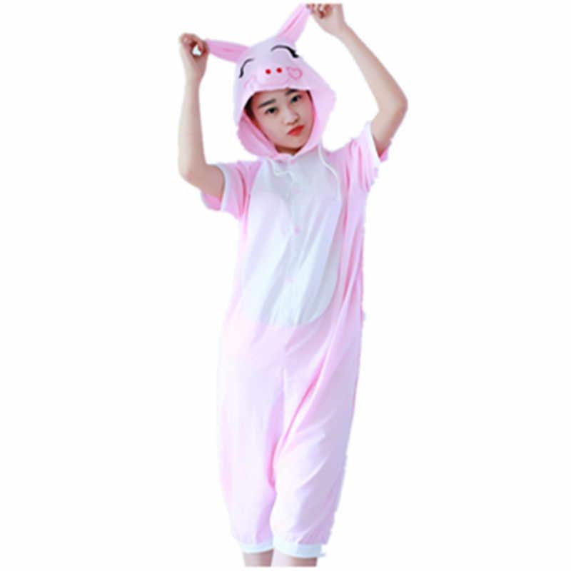 Мультфильм аниме розовый поросенок Косплэй костюм летний комбинезон короткий  рукав Животные Симпатичные Свинья пижамы Onesie взрослых 1f9d2da26cc6e