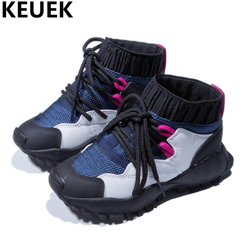 NEW Spring/Autumn Children Shoes Sneakers Boys Girls Mesh Shoes Student Lace-Up Flats Breathable Sports Kids Casual Shoes 044