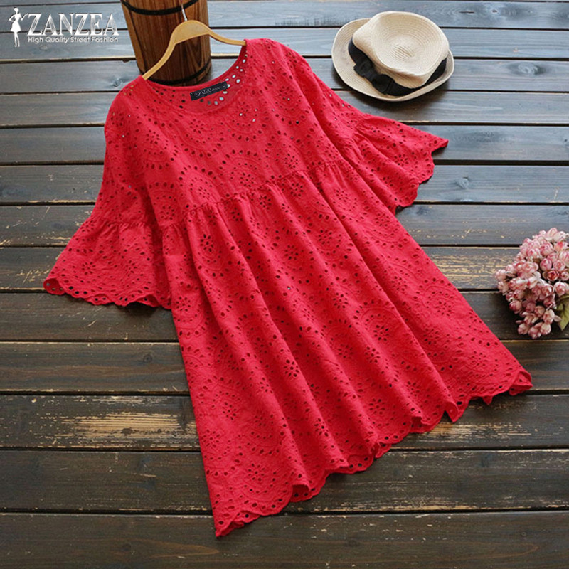 2019 ZANZEA Fashion Embroidery Blouse Women's Summer Shirts Sexy Hollow Blusa Casual Half Ruffle Sleeve Chemise Female Tunic 5XL