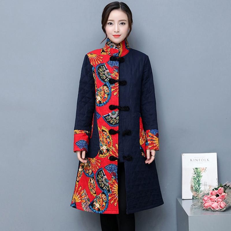 Femmes Vintage Bleu rouge Manteau D'hiver National D'âge Mère Veste Longue Survêtement Ym1070 Mûr De Imprimé Fleurs 2018 Chaud Coton TqUrFIqnw