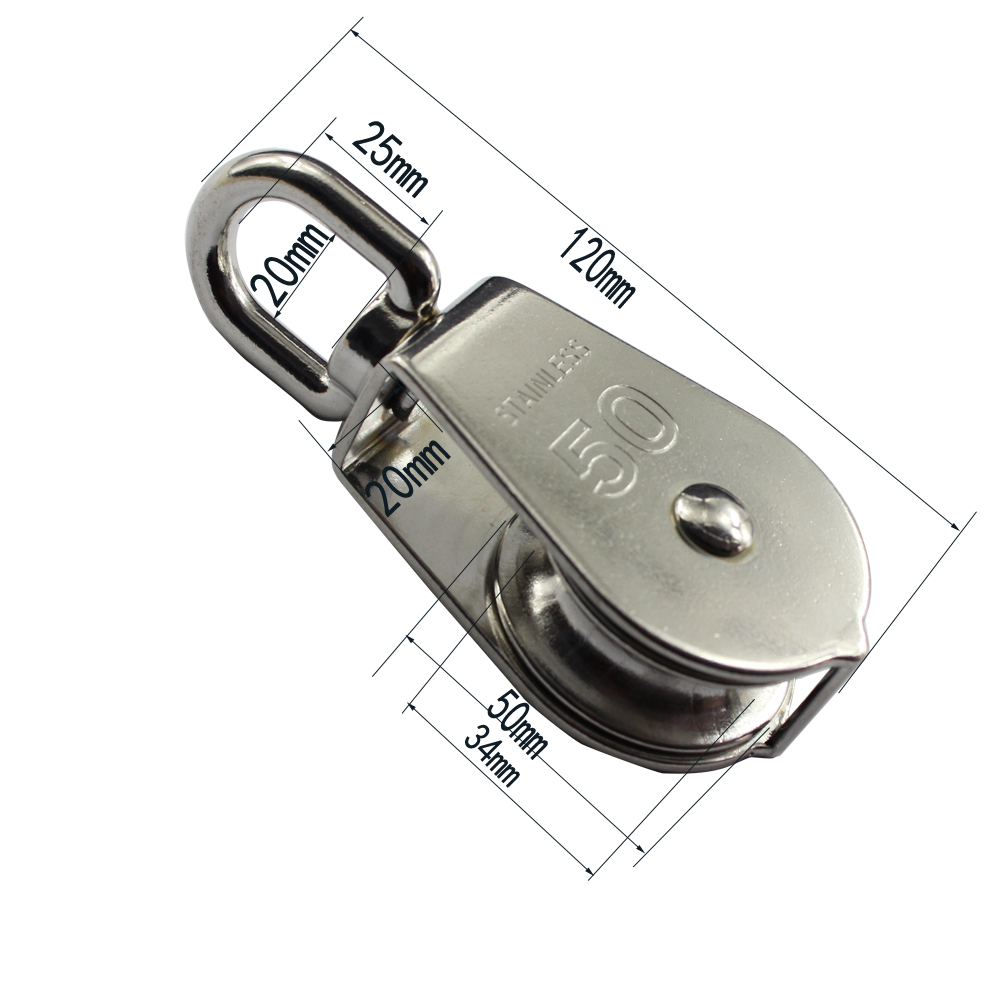US $7 58 |M50 Stainless Single Sheave Swivel Pulley Block Stainless Steel  304 Wire Rope Single Eye Swivel Pulley with 50mm Wheel 2pcs-in Marine