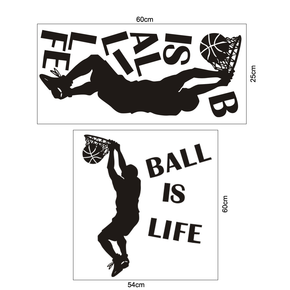 Aliexpress Buy Hot Sale 1PC Wallpaper Ball Is Life Sport Playing Basketball Wall Sticker For Kids Rooms Mural Decor Decal Removable New From Reliable