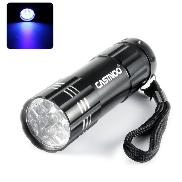 Ultra bright Aluminum 9 LED UV Blacklight,UV Handheld Flashlight for Hiking,Camping or Pets