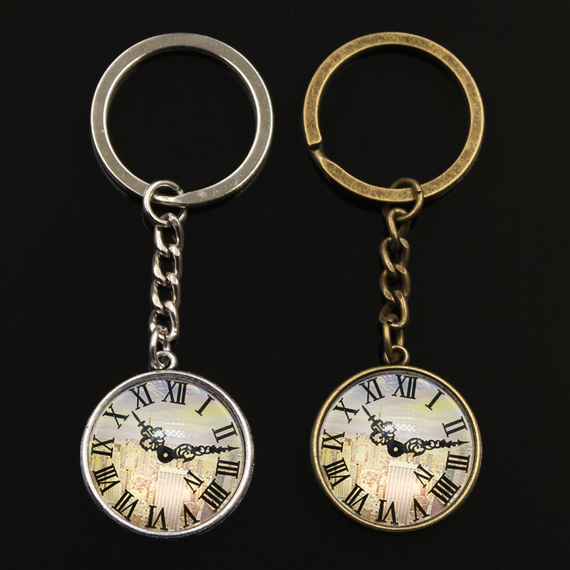 New Keychain Jewelry With Silver Color Building Clock Pocket Watches Glass Cabochon Car Accessories Keychain Ring For Unisex