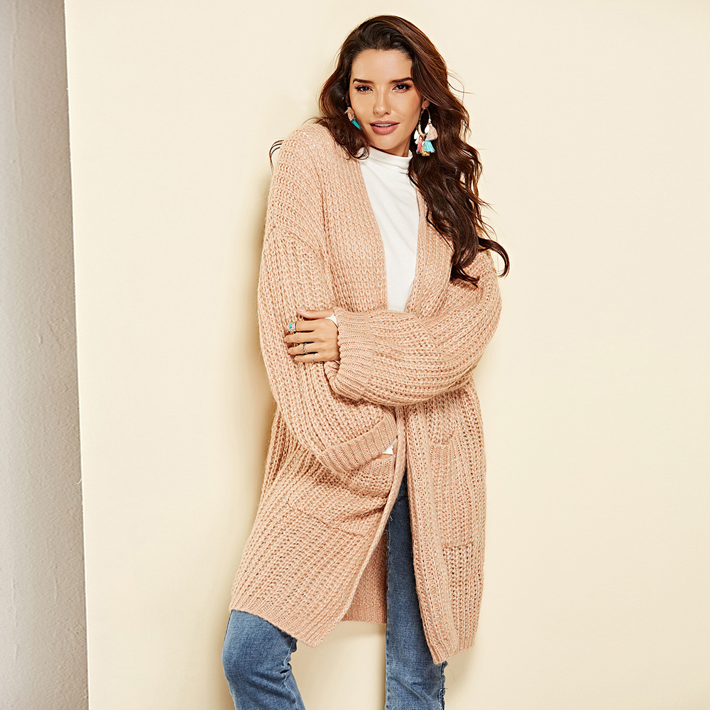 2019 Winter Mohair Long cardigan sweater solid color thickened loose jacket