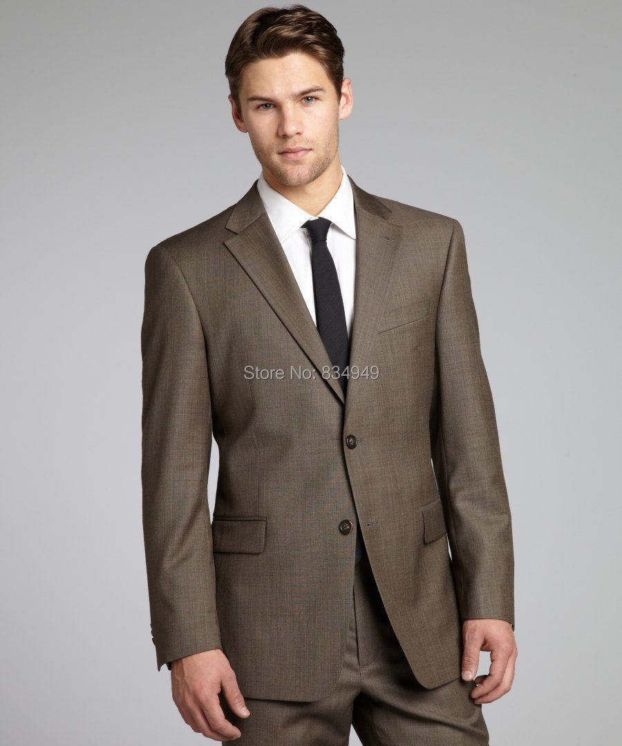 Aliexpress.com : Buy Brown Sharkskin Men Suit Custom Made Grey Two ...