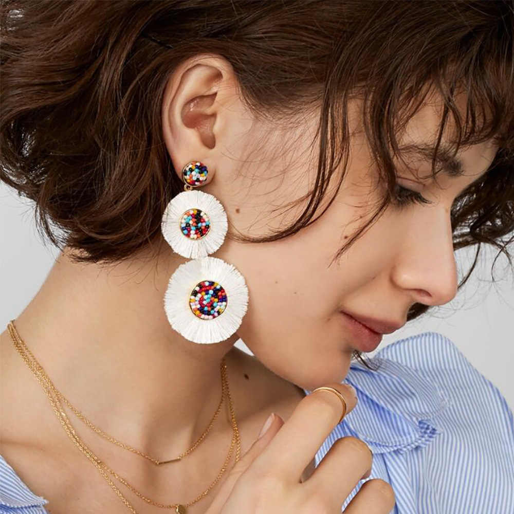 Trendy ZA Colorful Bead Acrylic Flower Tassel Drop Earrings for Women White Fringe Sunflower Earring Female Bijoux Party Jewelry
