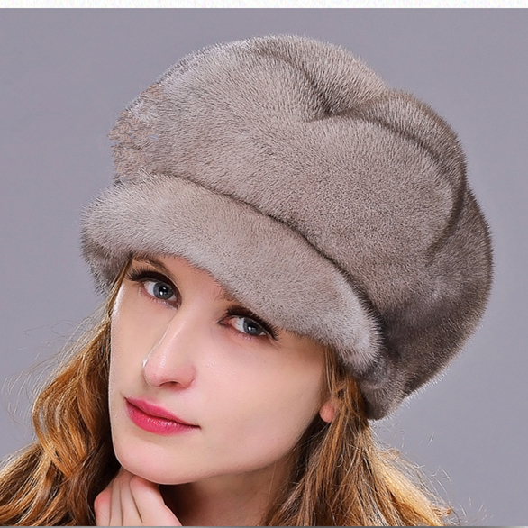 HM021 women's winter hats Real genuine mink  fur hat  winter women's warm caps whole piece mink fur hats mink skullies beanies hats knitted hat women 5pcs lot 2299