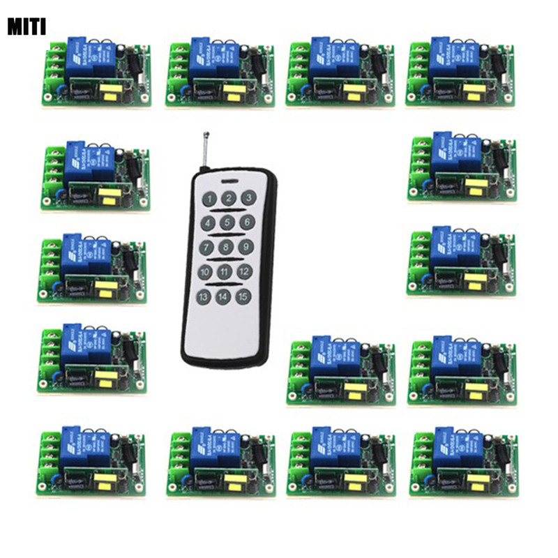 1CH RF Wireless Remote Control Switch 1Transmitter&15Receiver 85V-280V for Light/LED/Lamp Applicance Toggle Momentary 4325 2pcs receiver transmitters with 2 dual button remote control wireless remote control switch led light lamp remote on off system