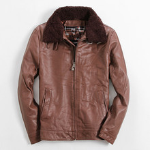 2017 Men Brown Casual Genuine Leather Jacket Fur Collar Real Thick Cowhide Plus Size XXXXL Slim Fit Winter Coat FREE SHIPPING