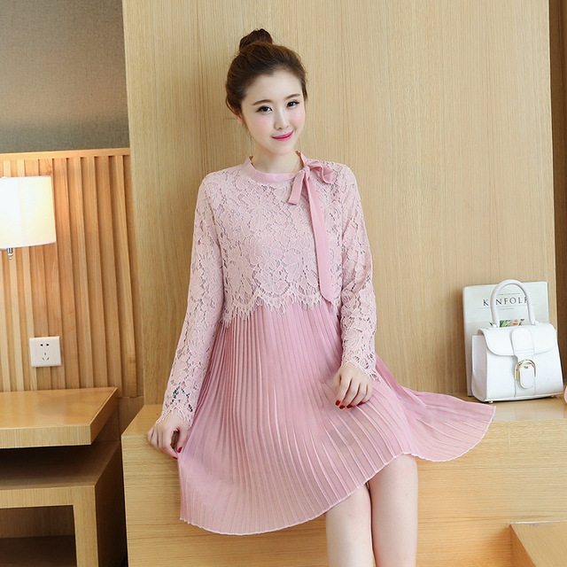 1fd520b946b4 Maternity Clothing New Arrival Cotton Lace Patchwork Bow Casual Plus Size  Dresses Clothes for Pregnant Women Pregnancy Clothes