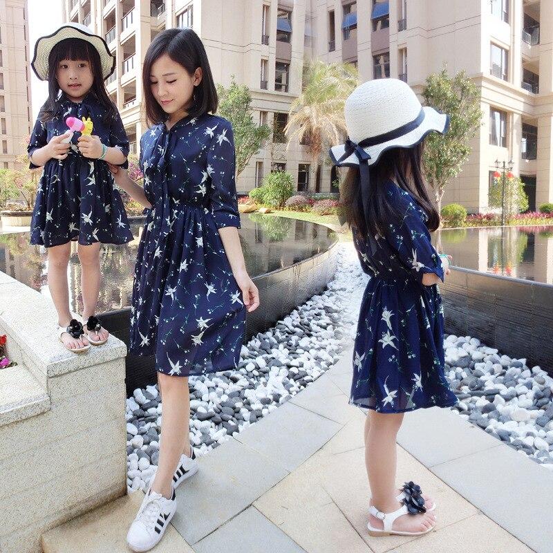 Online Shop Famli 1pc Mom Baby Girl Chiffon Dresses 2017 Family