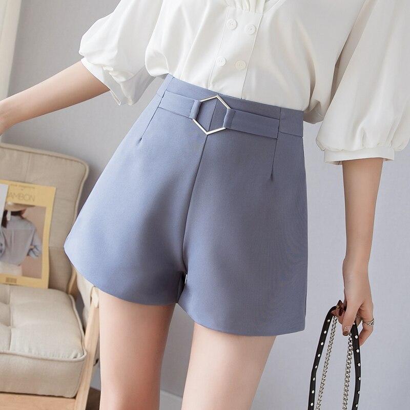 Korean Elegant High Waist Shorts Women Fashion Wide Leg Women Shorts Summer Office Workwear Buckle Hot Shorts Short Feminino
