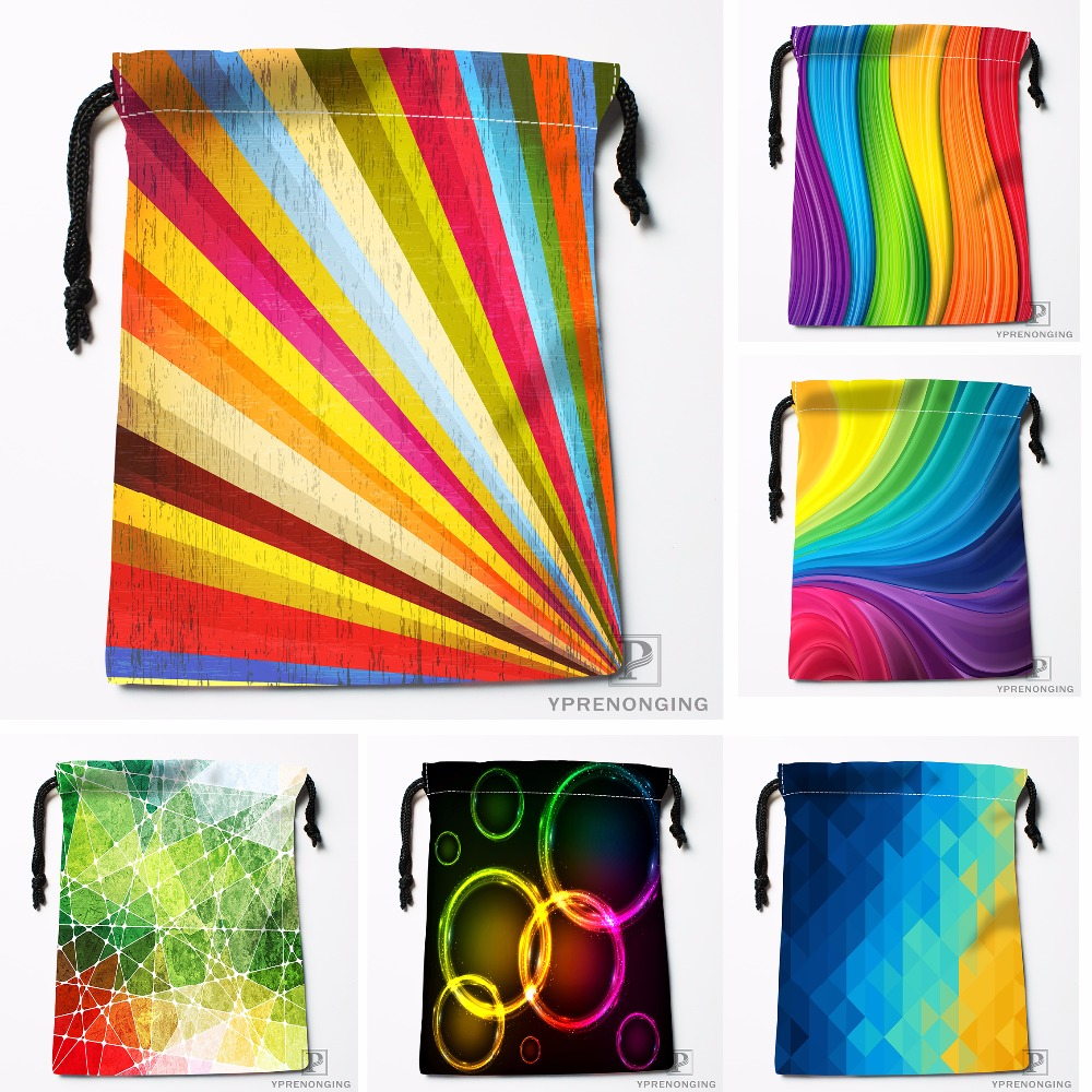 Custom Abstract Rainbow Background Drawstring Bags Travel Storage Mini Pouch Swim Hiking Toy Bag Size 18x22cm#0412-04-03