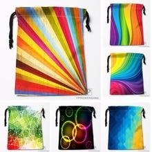 Custom Abstract Rainbow Background Drawstring Bags Travel Storage Mini Pouch Swim Hiking Toy Bag Size 18x22cm#0412-04-03