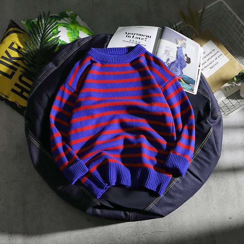 Свитер для пары в Корейском стиле, свитер в полоску в стиле хип-хоп с круглым вырезом, 2019
