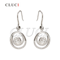 15 29mm 925 Sterling Silver Shining Double Round Earrings Fitting With 74 Zircons 1 Pair