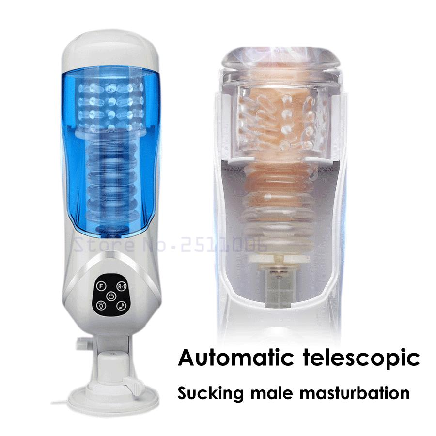Voice Sex Machine Male Automatic Masturbator Vacuum Sucking Telescopic Rotating Masturbation Cup Vagina Pussy Sex Toys For Men easy love 2 telescopic automatic sex machine rotating
