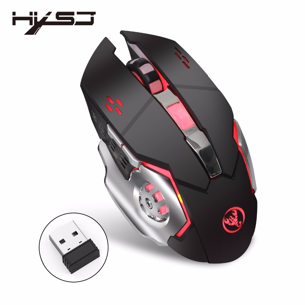лучшая цена New HXSJ M70 Wireless Gaming Mouse 2400dpi Rechargeable 7 color Backlight Breathing Comfort Gamer Mice for Laptop Desktop PC