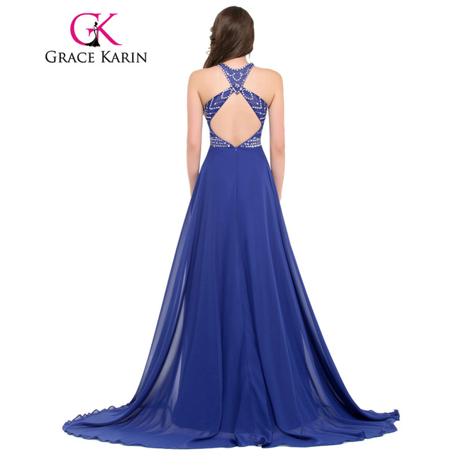 Grace Karin Evening Dress Long Chiffon Beading Backless Formal Party Gowns Vestido Festa Special Occasion Dress Royal Blue