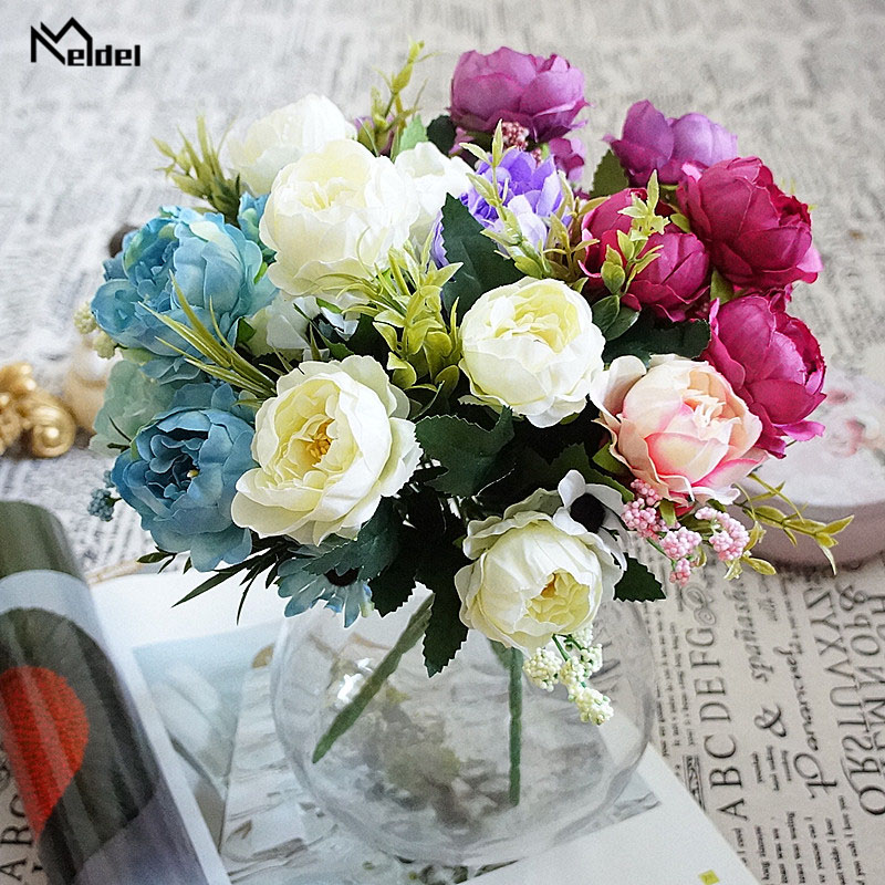 Meldel Wedding Bouquet Bridal Artificial 7 Heads Peony Flower Pink Bridesmaids Holder Wedding Bouquet DIY Home Party Store Decor