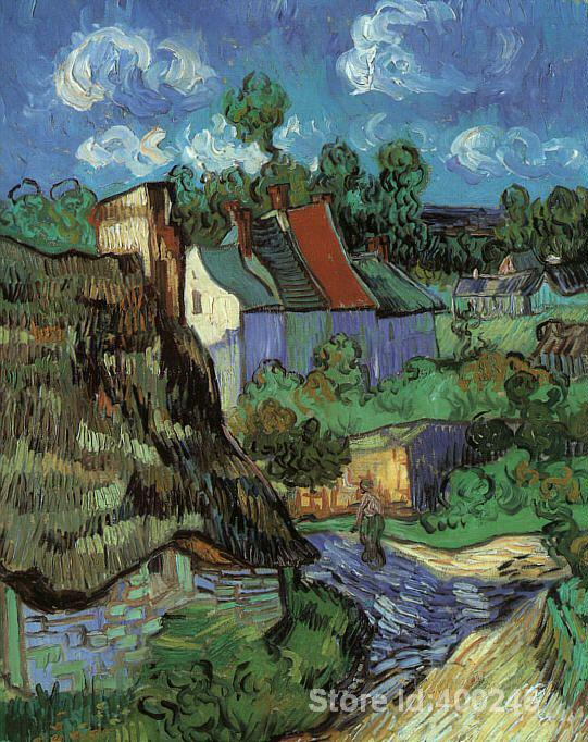 Houses in Auvers by Vincent Van Gogh Oil painting reproduction home decor Hand painted High quality