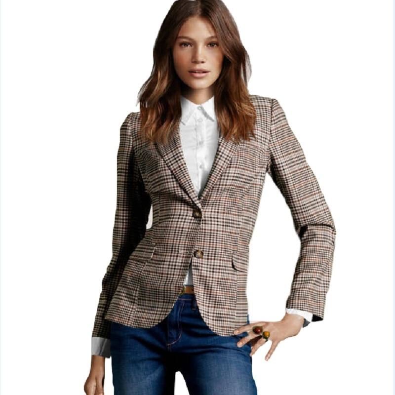 2015 New Fashion Women's Plaid Elbow Patches Slim Blazer Ladies Autumn Suits Basic Jacket Casual Blazer Feminino A360
