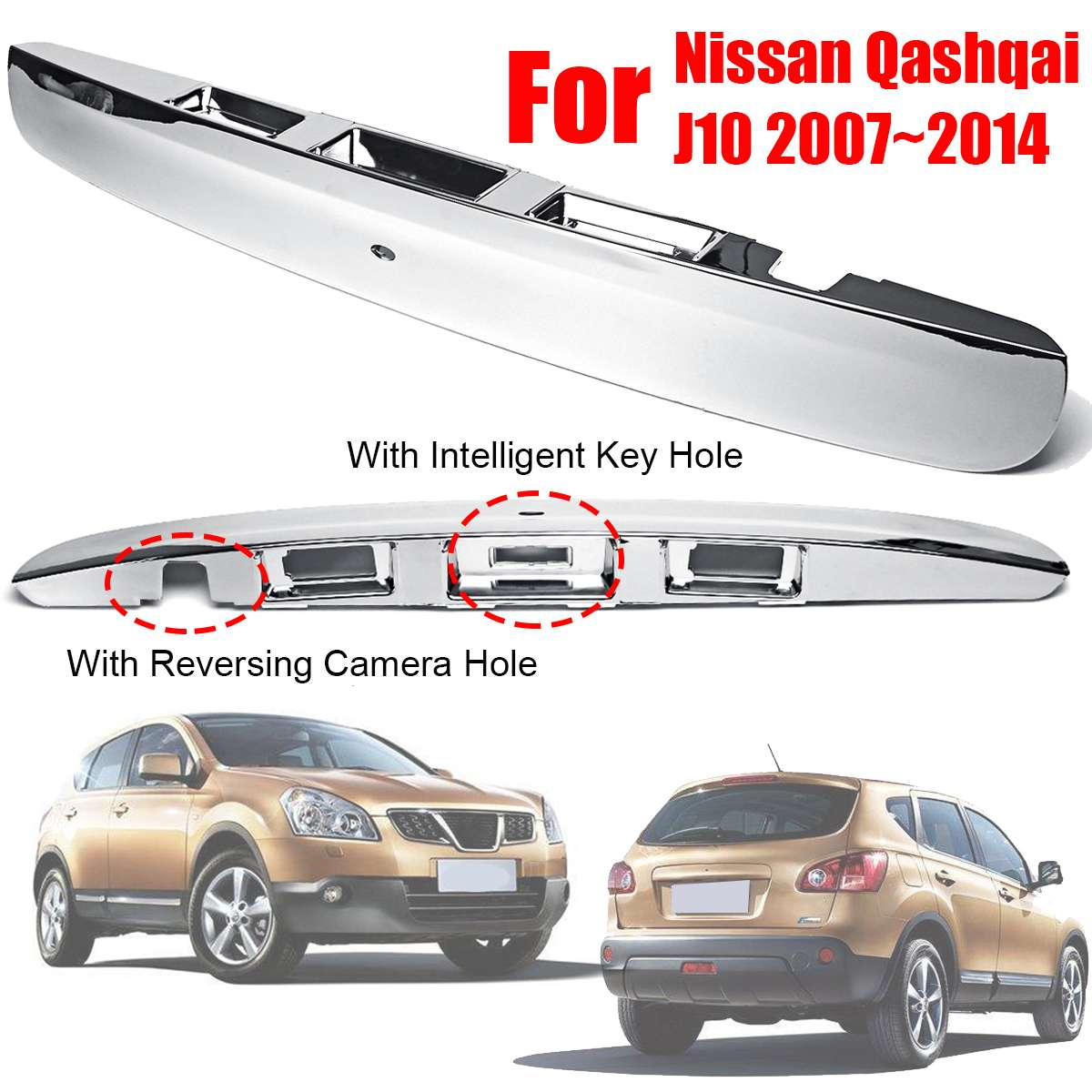 No Keyhole, No Backup Camera, Replaces 20927958, 22755303, 23158822 APDTY 140171 Tailgate Cable Latch Rod Handle /& Trim Bezel Without Keyhole Fits 2007-2013 Silverado or Sierra 2500 or 3500 Trucks