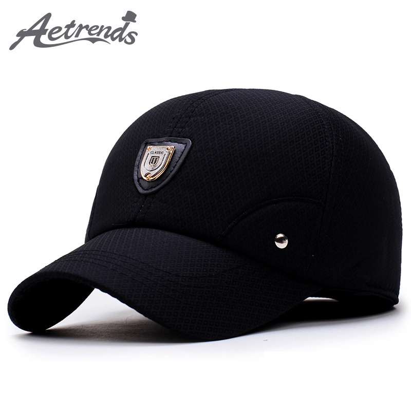 [AETRENDS] Winter Dad Hat Men   Baseball     Cap   with Ears Protection 2018 Black Custom Logo Branded   Baseball     Caps   Gorras Z-5924
