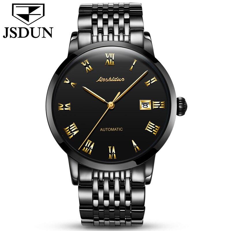 JSDUN Charm Golden Men Automatic Watches Male Clock Stainless Steel Bracelet Strap Date Display Mans Roman Dial Mechanical Watch цены