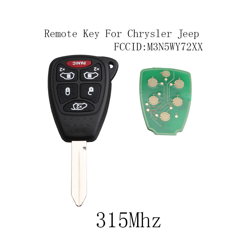 2Pcs* Remote Key Fob For Chrysler Town Country 2004 2005 2006 2007 5+1 Panic Buttons M3N5WY72XX 315Mhz