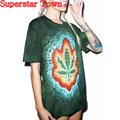 Polerones Mujer De Marca Leaf Cool Shirt Tee Shirt Femme De Marque 2016 Ete Summer Style Short Sleeve Harajuku Tops Tee