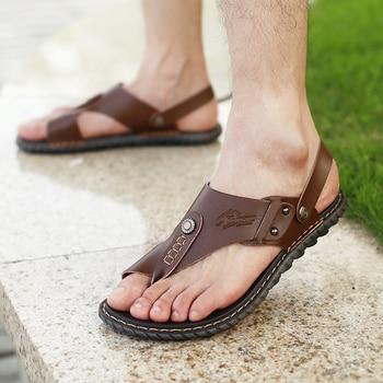 Men's Summer Genuine Leather Flip-Flops Slippers Beach Sandals Casual Shoes Moccasins Men Sandals Summer 5