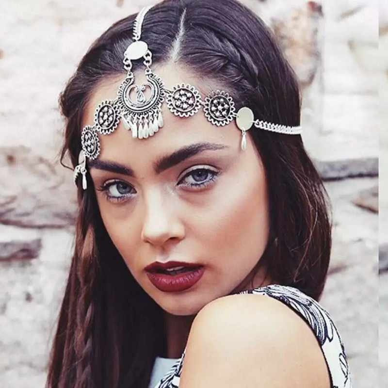 Accesorios para el cabello europeo Vintage Punk frente joyería diademas plata Metal círculo cabeza cadena borla tocado para mujer