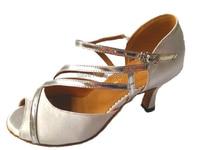 Wholesale Ladies White Satin Silver Straps Ballroom LATIN SALSA Tango Wedding Dance Shoes Size 34 35