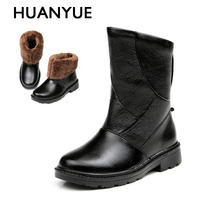 2017 New Warm Winter Men Boots High Quality PU Leather Black Snow Boots Fashion Winter Men