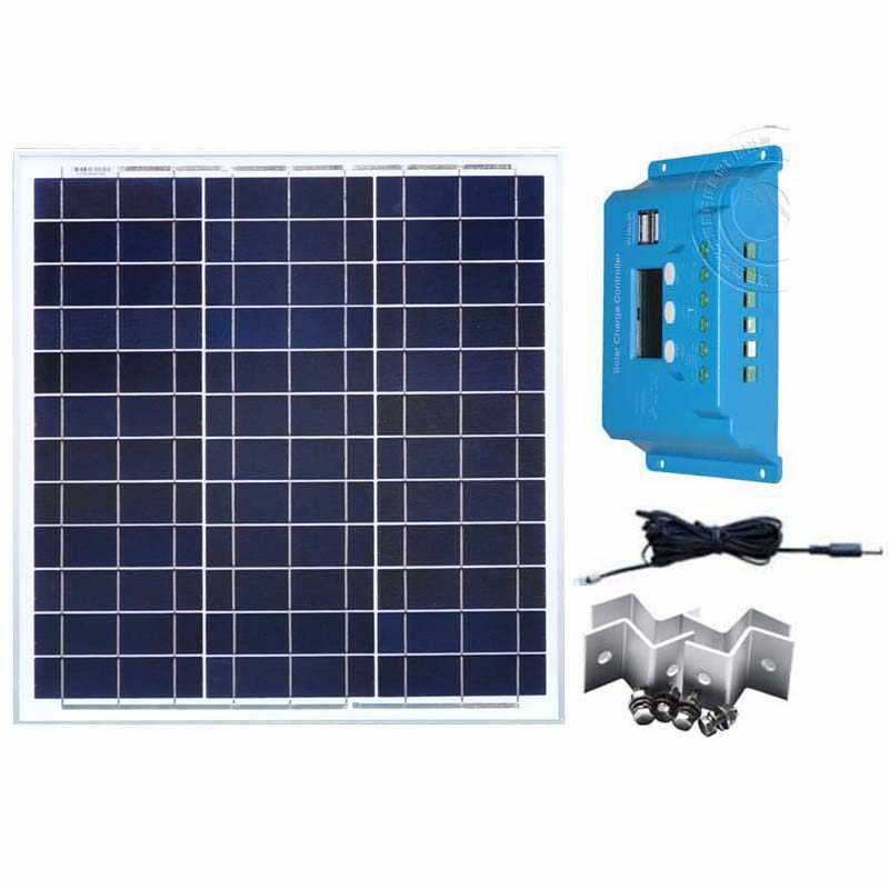 Комплект Panneau Solaire 12 В 40 Вт солнечное зарядное устройство Контроллер заряда 12 В/24 В 10A Авто Солнечная батарея вентилятор автомобильный телефон