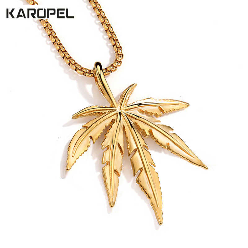 Karopel Gold Silver Weed Herb Charm Necklace Maple Leaf Pendant Necklace Hip Hop Jewelry Wholesale