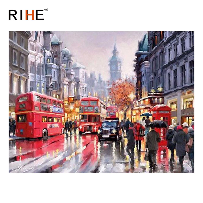 RIHE City Rainy Street Diy Painting By Numbers Abstract Walker Bus Oil On Canvas Cuadros Decoracion Acrylic Wall Art