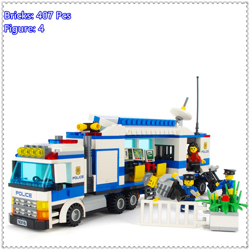 GUDI 9316 407Pcs City Series Mobile Police Station Building Block DIY Educational  Toys For Children Compatible Legoe jie star police pickup truck 3 kinds deformations city police building block toys for children boys diy police block toy 20026