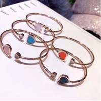 High Quality Heart Bangle Fashion Simple Vintage Open Size Silver/Rose Gold 100% S925 Sterling Silver Bangles for Women Jewelry