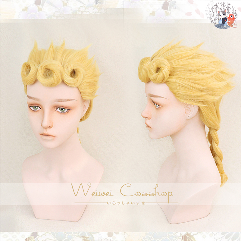 JoJo's Bizarre Adventure Giorno Giovanna Golden Cosplay Wig Synthetic Styled Hair Halloween Role Play GIOGIO  + Wig cap