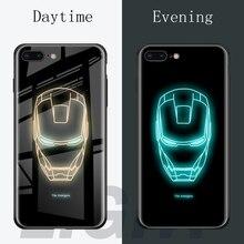 Hot Batman Superman Spiderman Luminous Glass Case For iphone 7 8 6 6s Plus X Xs XMax XR Avengers Black Panther iron Man Cover